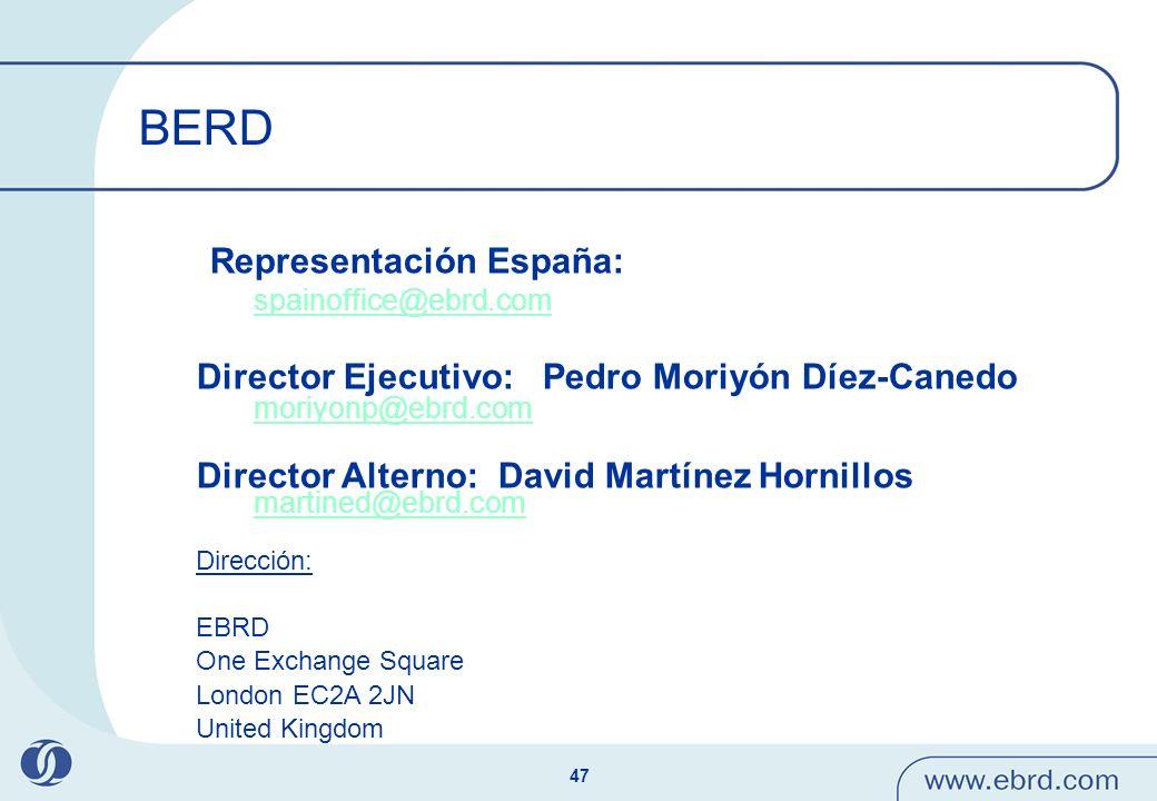 BERD Director Ejecutivo: Pedro Moriyón Díez-Canedo moriyonp@ebrd.com