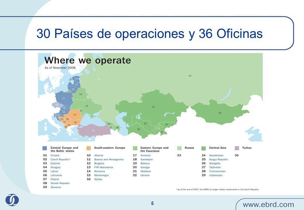 30 Países de operaciones y 36 Oficinas
