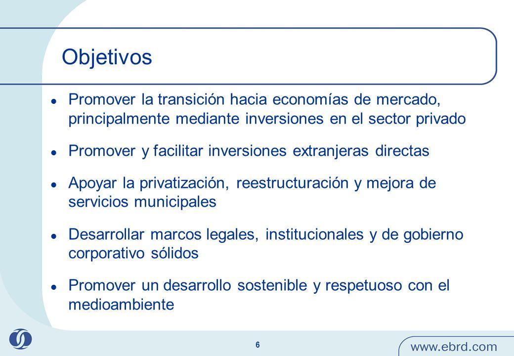 ObjetivosPromover la transición hacia economías de mercado, principalmente mediante inversiones en el sector privado.