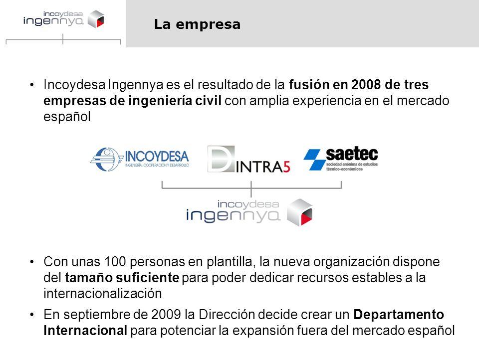 La empresa Incoydesa Ingennya es el resultado de la fusión en 2008 de tres empresas de ingeniería civil con amplia experiencia en el mercado español.