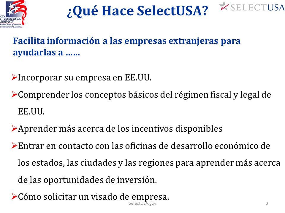 ¿Qué Hace SelectUSA Facilita información a las empresas extranjeras para ayudarlas a …… Incorporar su empresa en EE.UU.