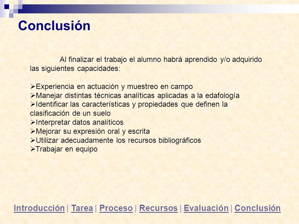 Conclusión Al finalizar el trabajo el alumno habrá aprendido y/o adquirido las siguientes capacidades: