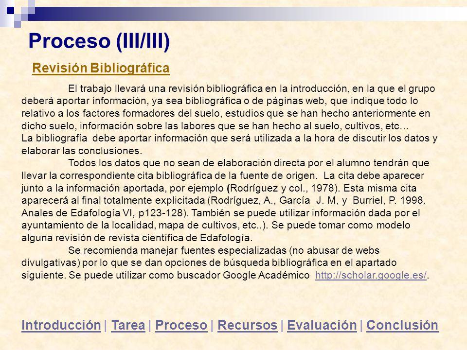 Proceso (III/III) Revisión Bibliográfica
