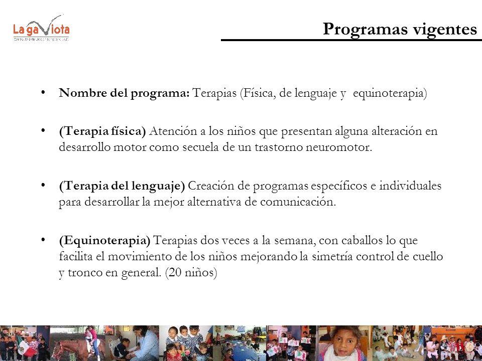 Programas vigentes Nombre del programa: Terapias (Física, de lenguaje y equinoterapia)