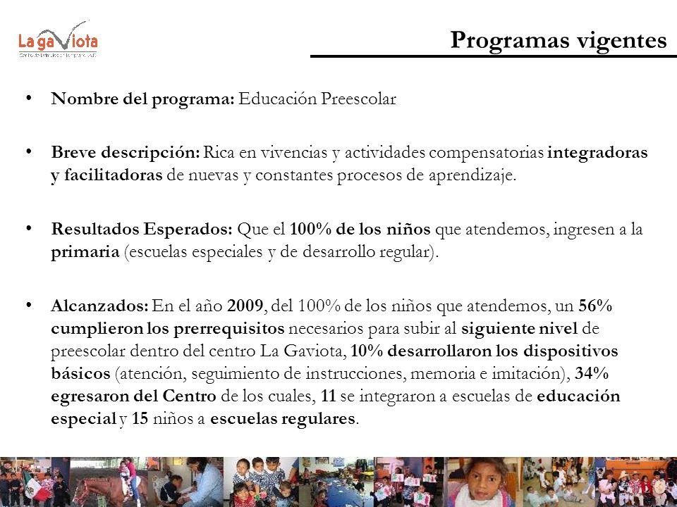 Programas vigentes Nombre del programa: Educación Preescolar