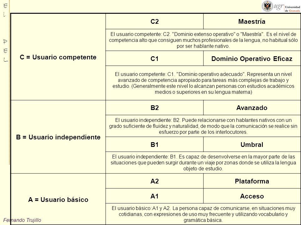 Dominio Operativo Eficaz B = Usuario independiente