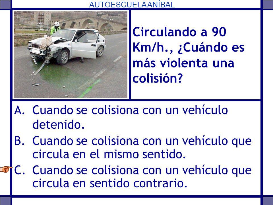 Circulando a 90 Km/h., ¿Cuándo es más violenta una colisión