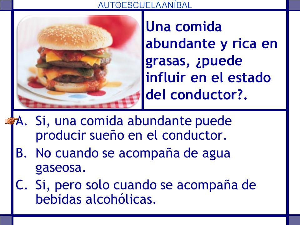Una comida abundante y rica en grasas, ¿puede influir en el estado del conductor .