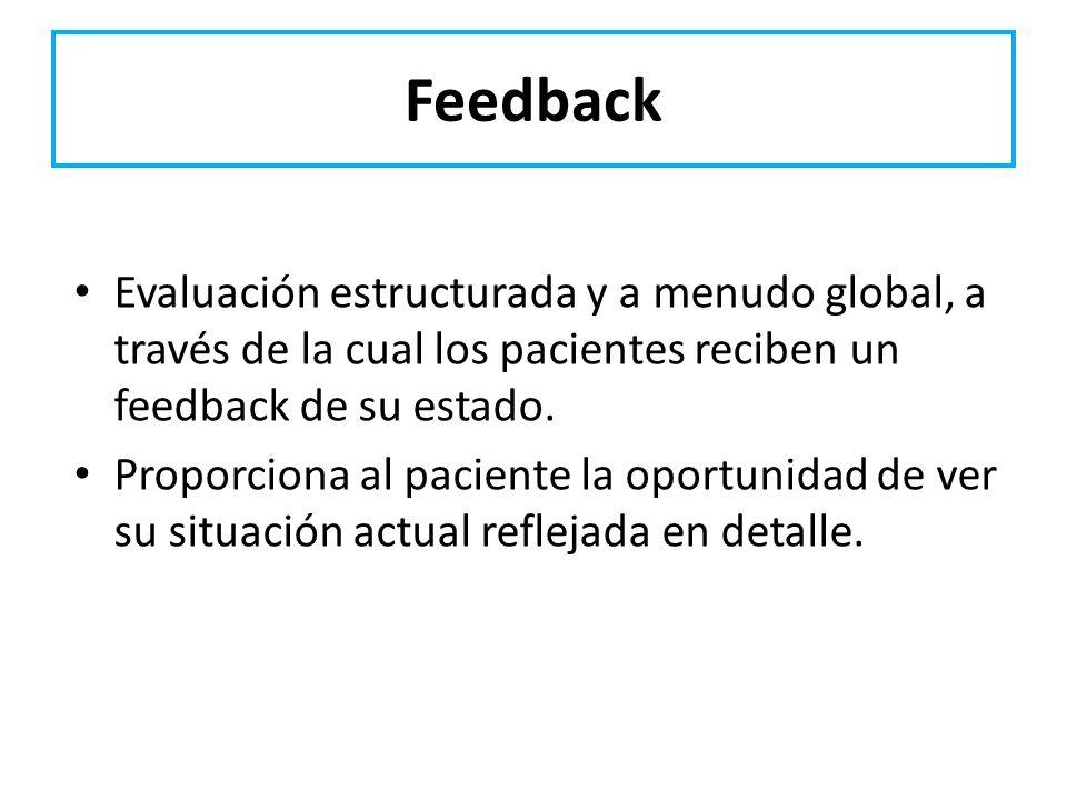 Feedback Evaluación estructurada y a menudo global, a través de la cual los pacientes reciben un feedback de su estado.