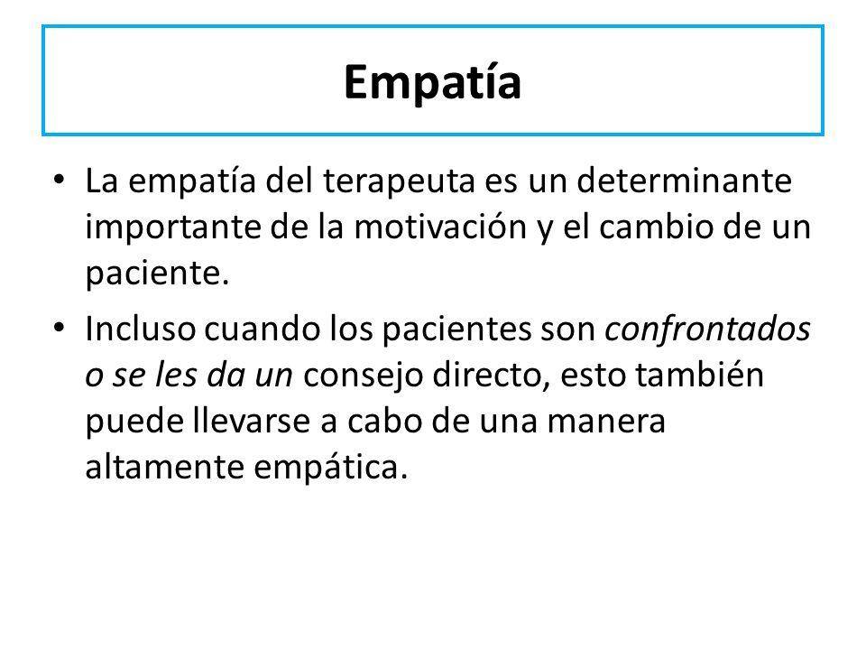 EmpatíaLa empatía del terapeuta es un determinante importante de la motivación y el cambio de un paciente.