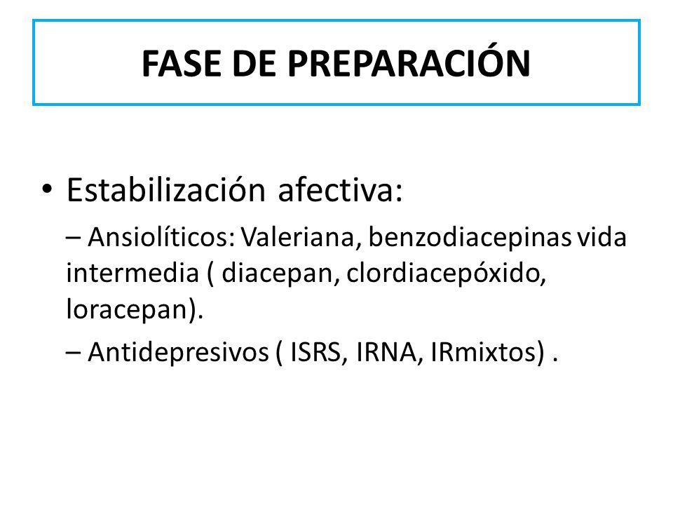 FASE DE PREPARACIÓN Estabilización afectiva: