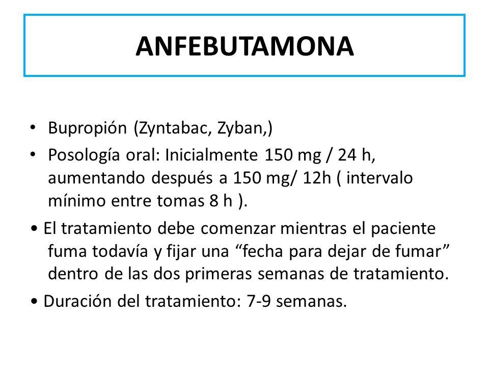 ANFEBUTAMONA Bupropión (Zyntabac, Zyban,)