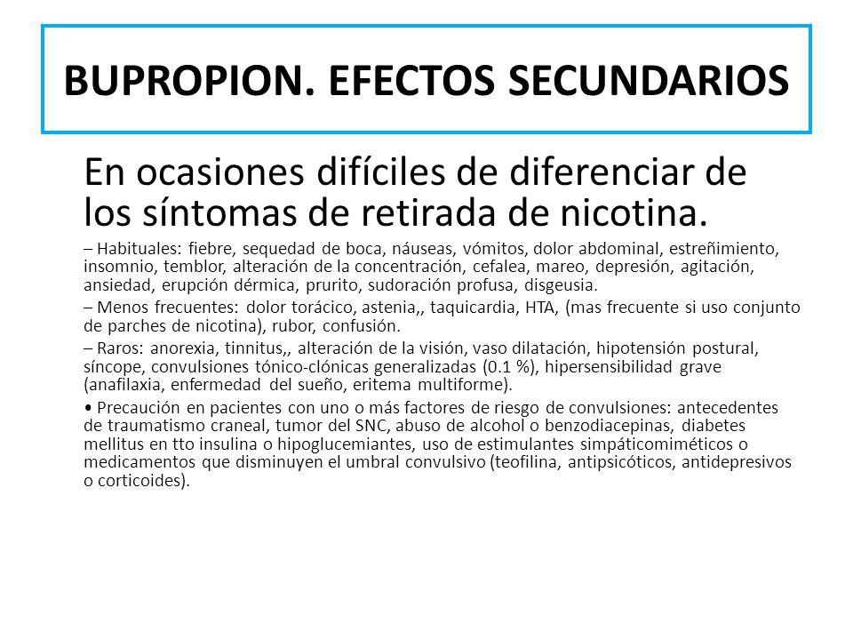 BUPROPION. EFECTOS SECUNDARIOS
