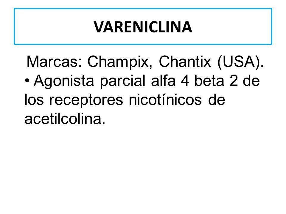 VARENICLINA Marcas: Champix, Chantix (USA).