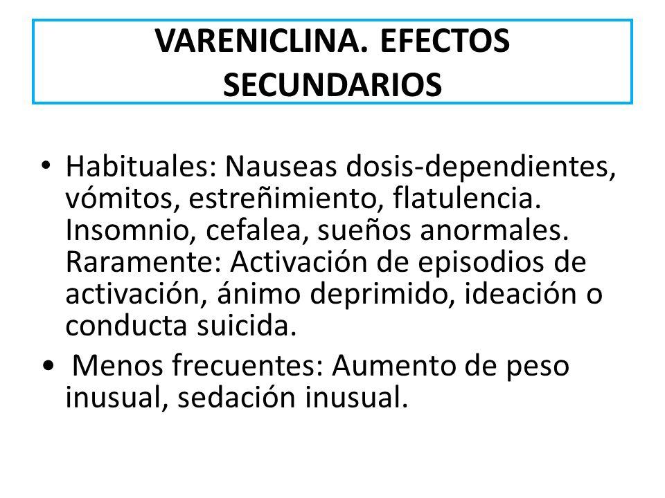 VARENICLINA. EFECTOS SECUNDARIOS