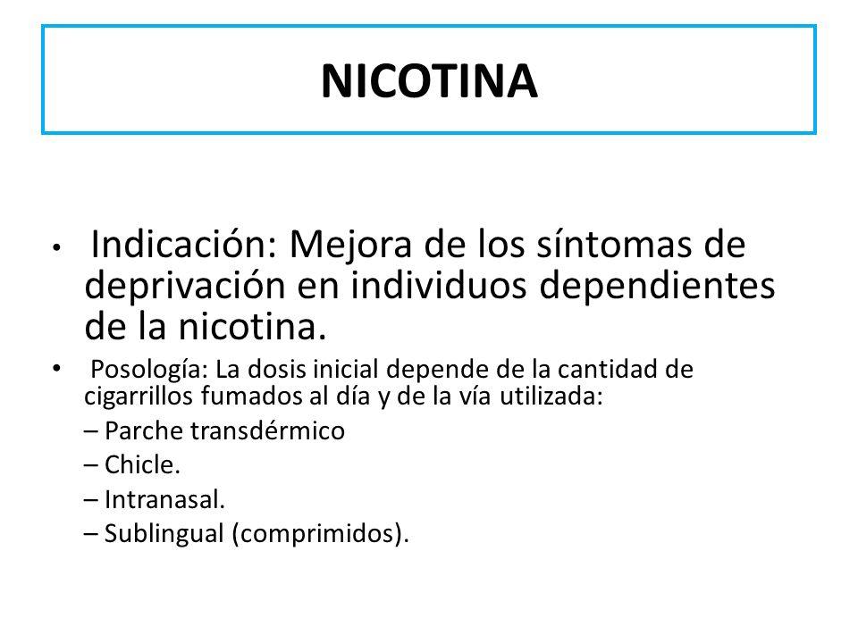 NICOTINA Indicación: Mejora de los síntomas de deprivación en individuos dependientes de la nicotina.