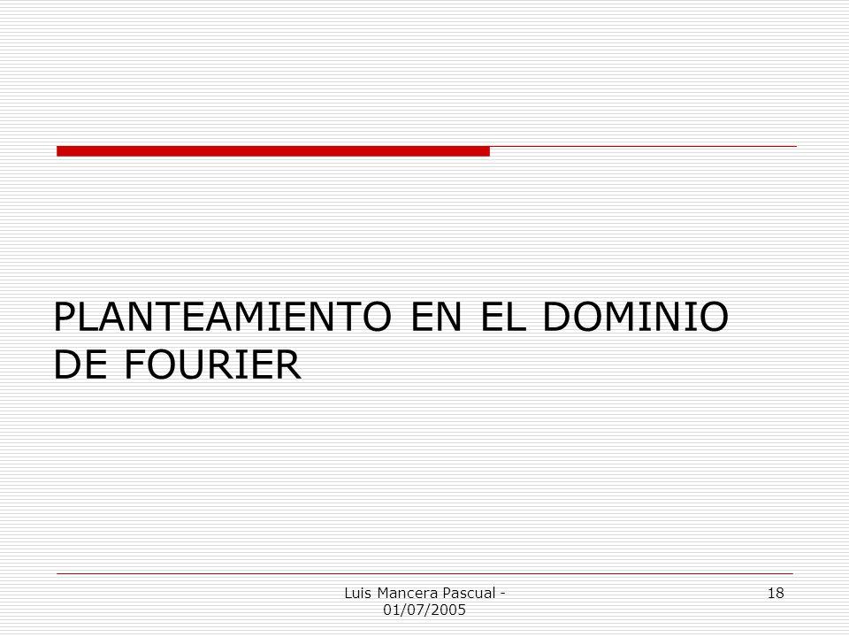 PLANTEAMIENTO EN EL DOMINIO DE FOURIER