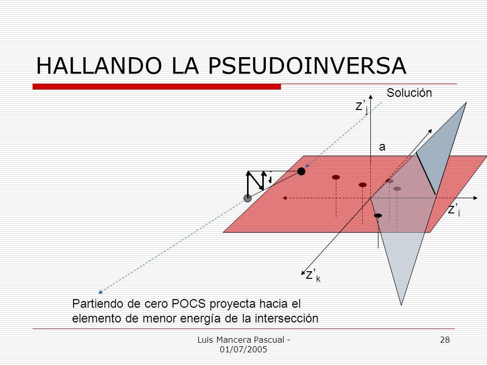 HALLANDO LA PSEUDOINVERSA