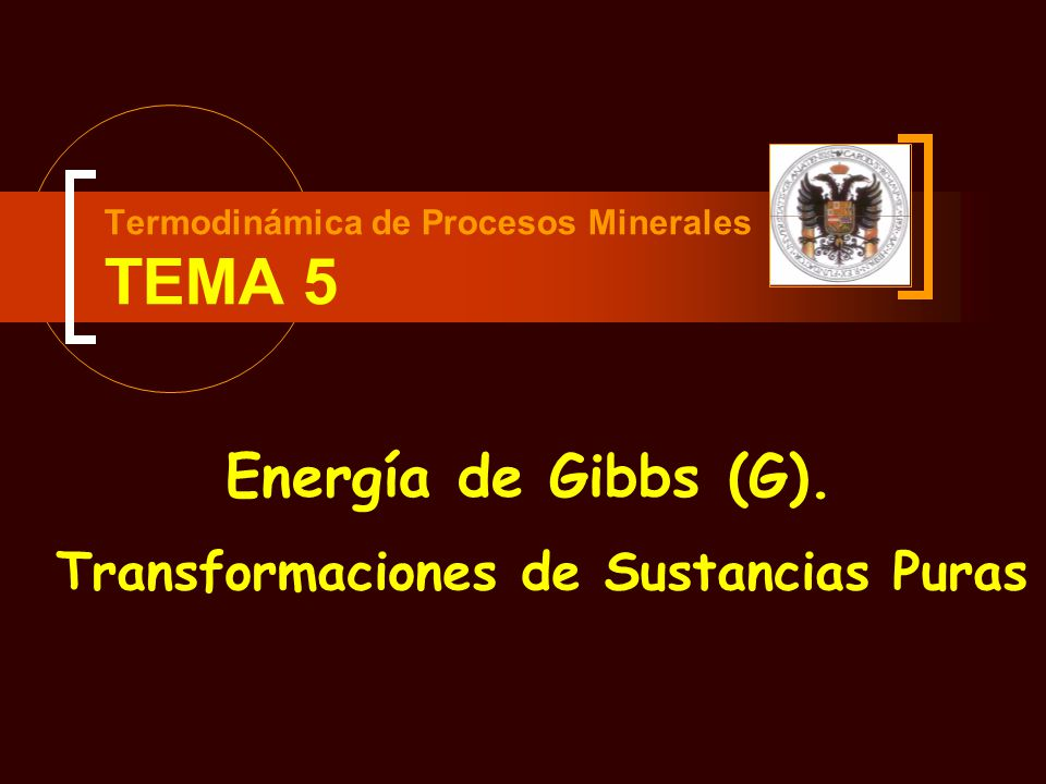 Termodinámica de Procesos Minerales TEMA 5