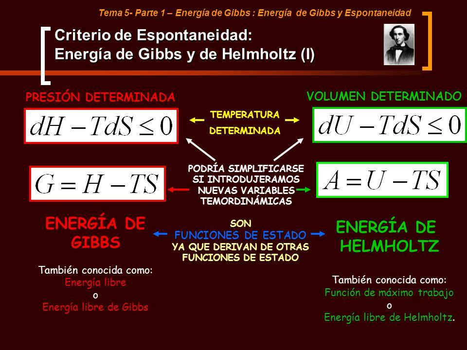 Criterio de Espontaneidad: Energía de Gibbs y de Helmholtz (I)