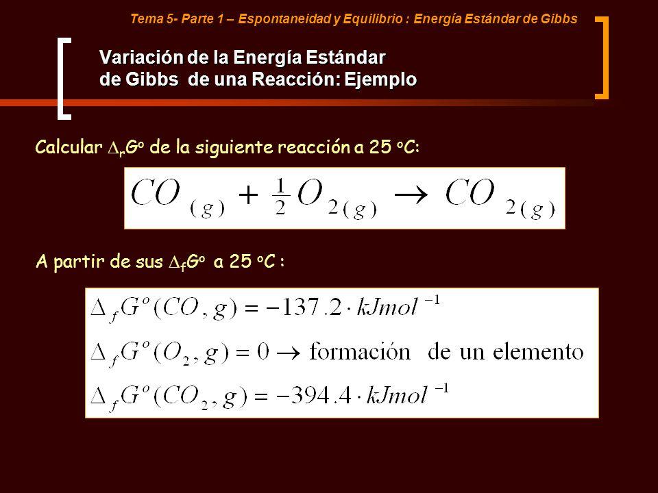Variación de la Energía Estándar de Gibbs de una Reacción: Ejemplo