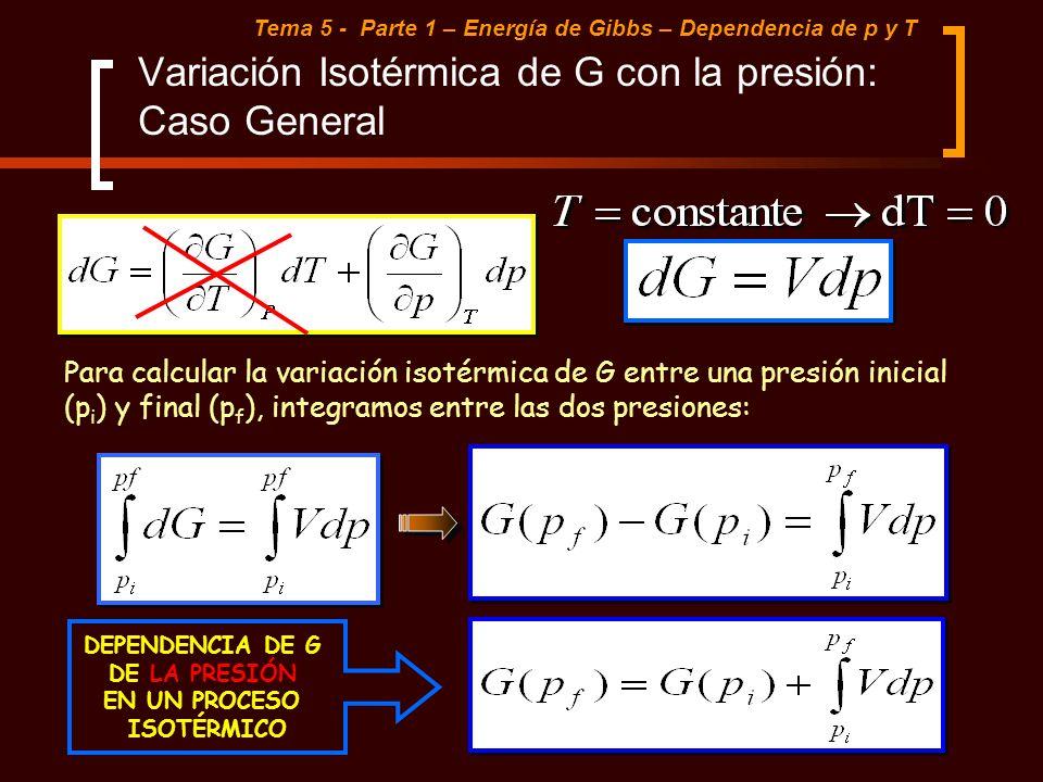 Variación Isotérmica de G con la presión: Caso General