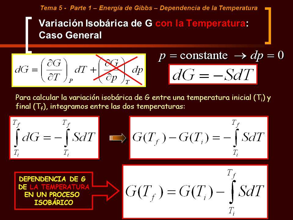 Variación Isobárica de G con la Temperatura: Caso General
