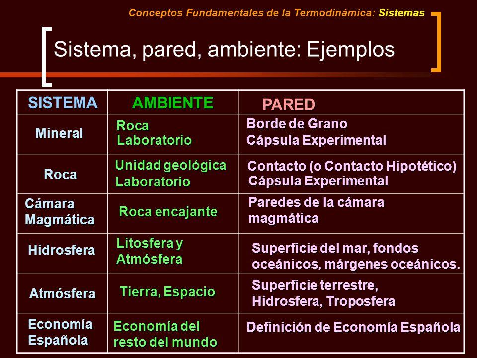 Sistema, pared, ambiente: Ejemplos