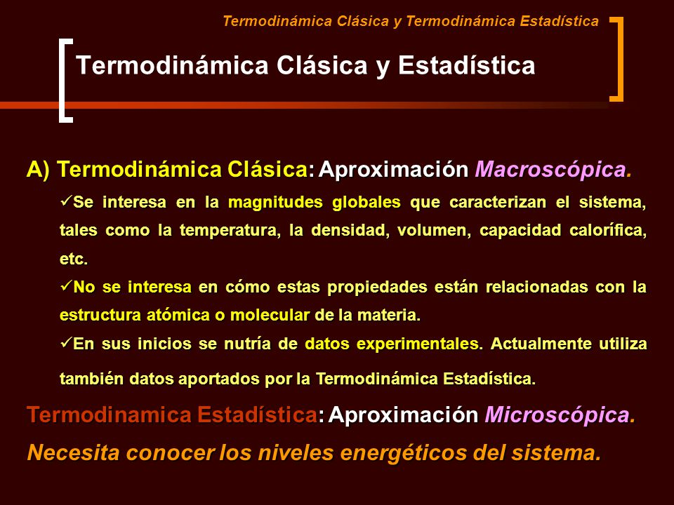 Termodinámica Clásica y Estadística