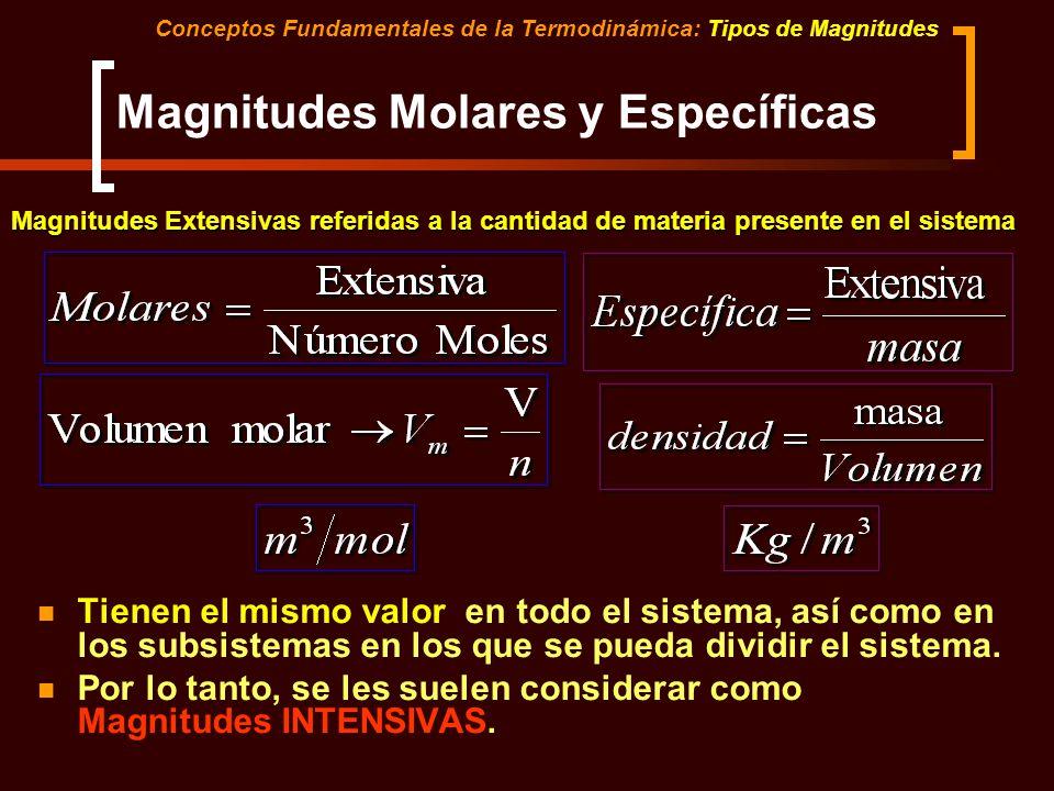 Magnitudes Molares y Específicas