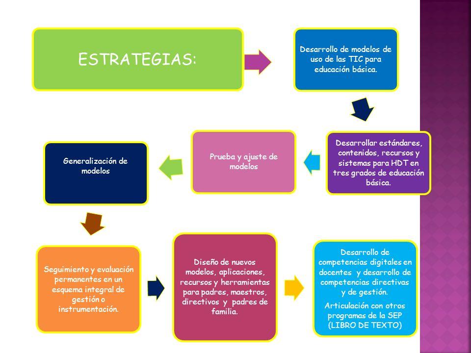 ESTRATEGIAS:Desarrollo de modelos de uso de las TIC para educación básica.