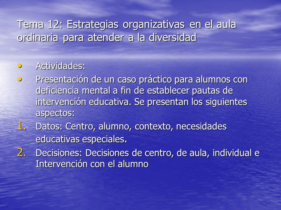 Tema 12: Estrategias organizativas en el aula ordinaria para atender a la diversidad