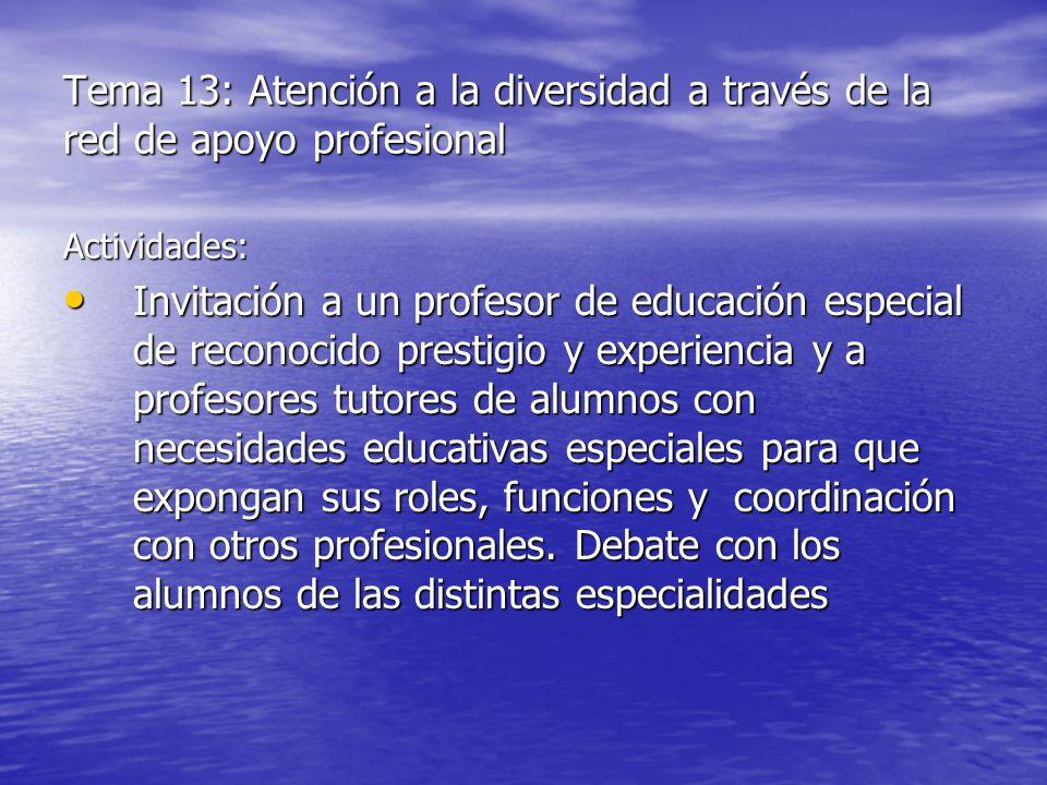 Tema 13: Atención a la diversidad a través de la red de apoyo profesional