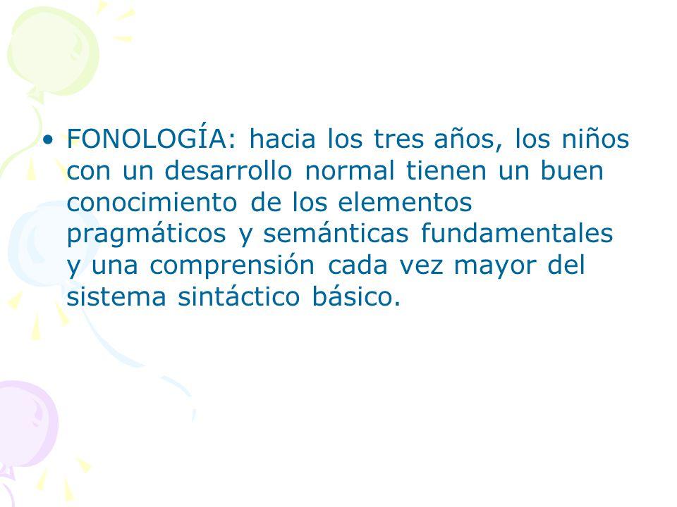 FONOLOGÍA: hacia los tres años, los niños con un desarrollo normal tienen un buen conocimiento de los elementos pragmáticos y semánticas fundamentales y una comprensión cada vez mayor del sistema sintáctico básico.