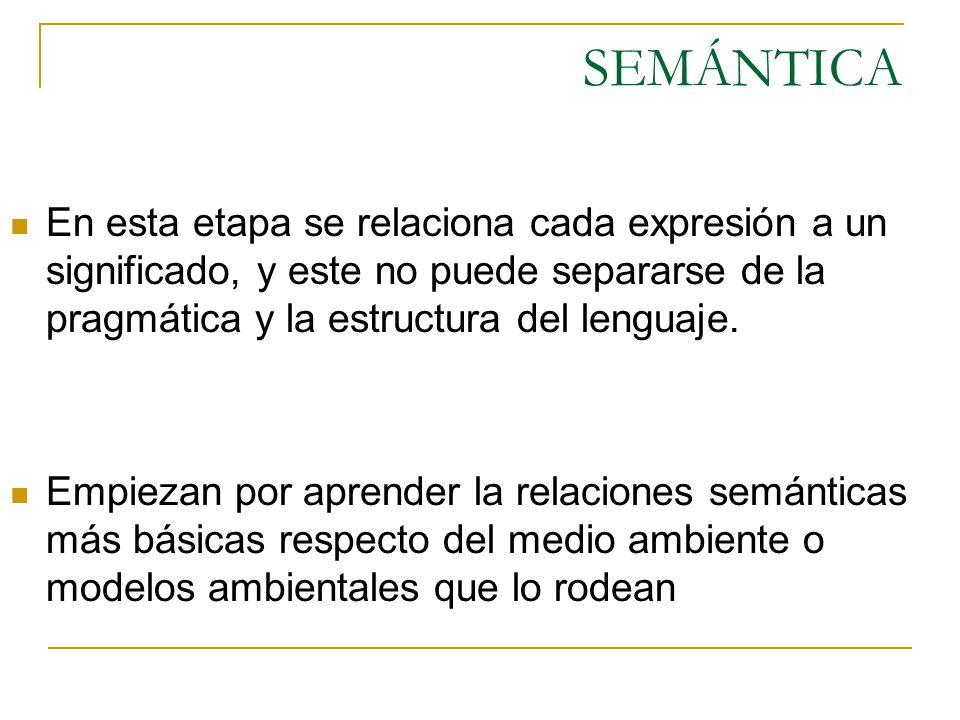 SEMÁNTICA En esta etapa se relaciona cada expresión a un significado, y este no puede separarse de la pragmática y la estructura del lenguaje.