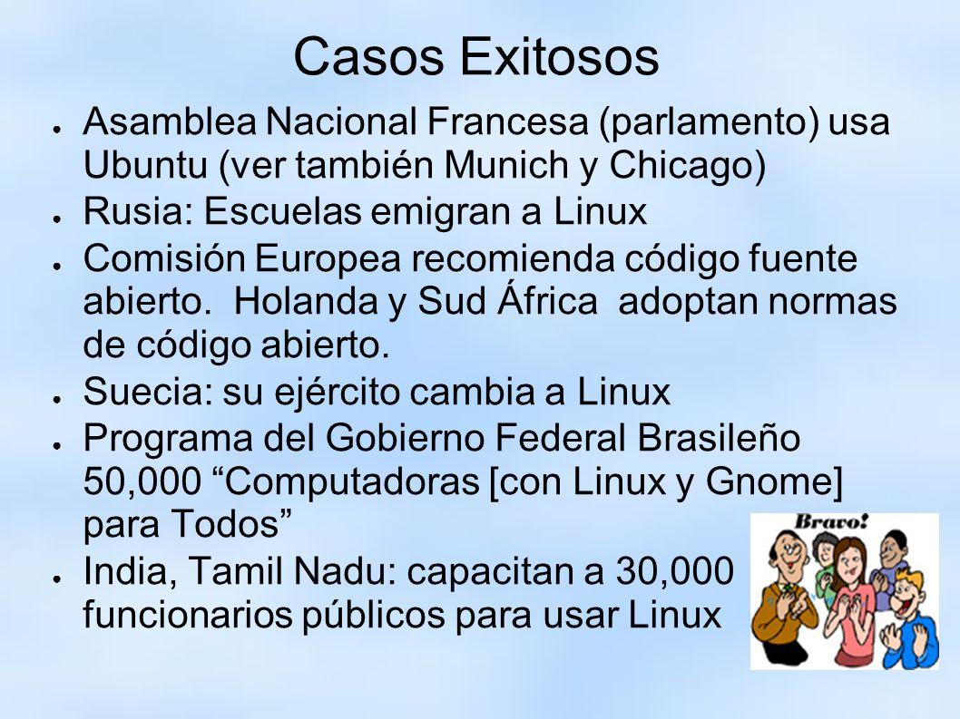 Casos Exitosos Asamblea Nacional Francesa (parlamento) usa Ubuntu (ver también Munich y Chicago) Rusia: Escuelas emigran a Linux.