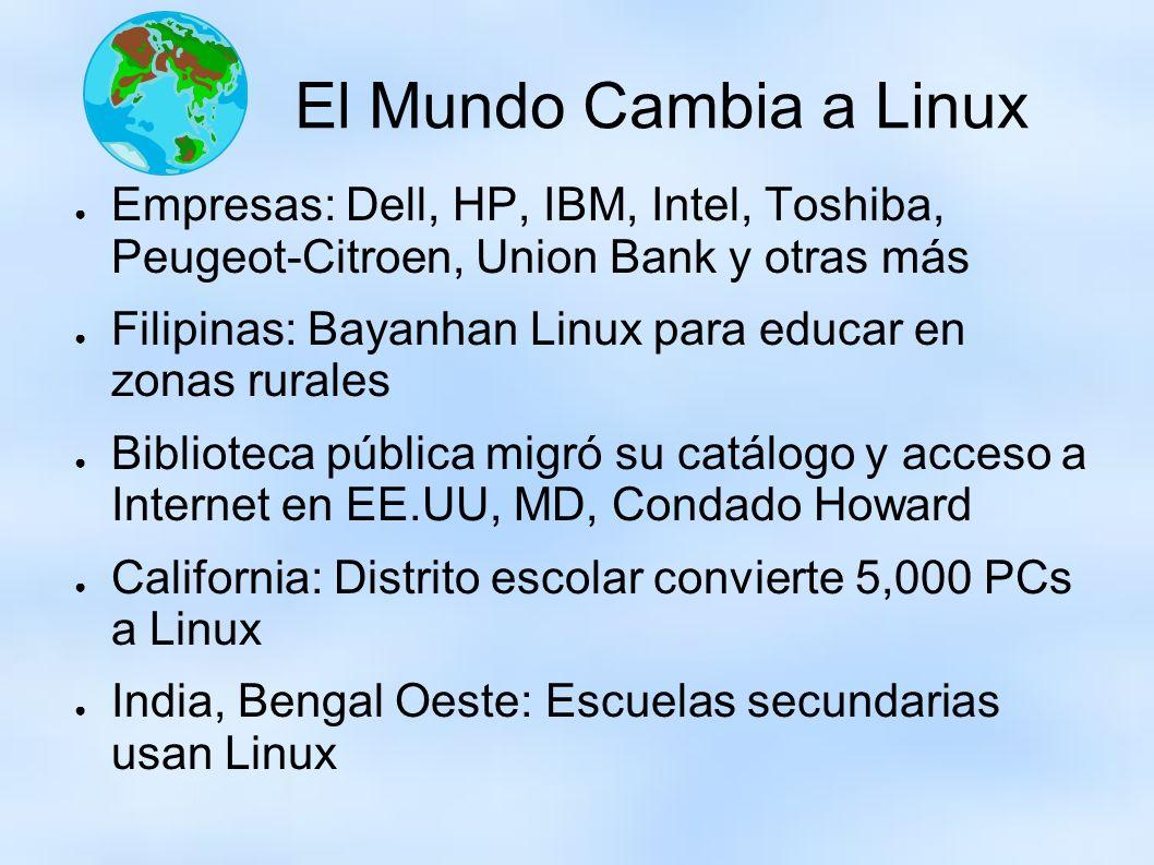 El Mundo Cambia a Linux Empresas: Dell, HP, IBM, Intel, Toshiba, Peugeot-Citroen, Union Bank y otras más.