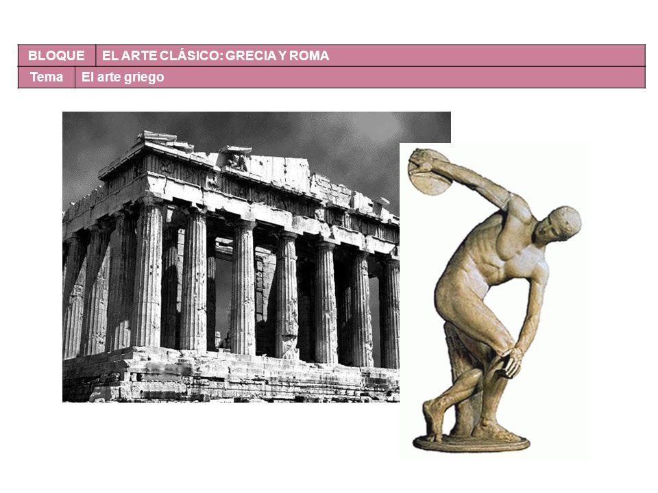 BLOQUE EL ARTE CLÁSICO: GRECIA Y ROMA Tema El arte griego