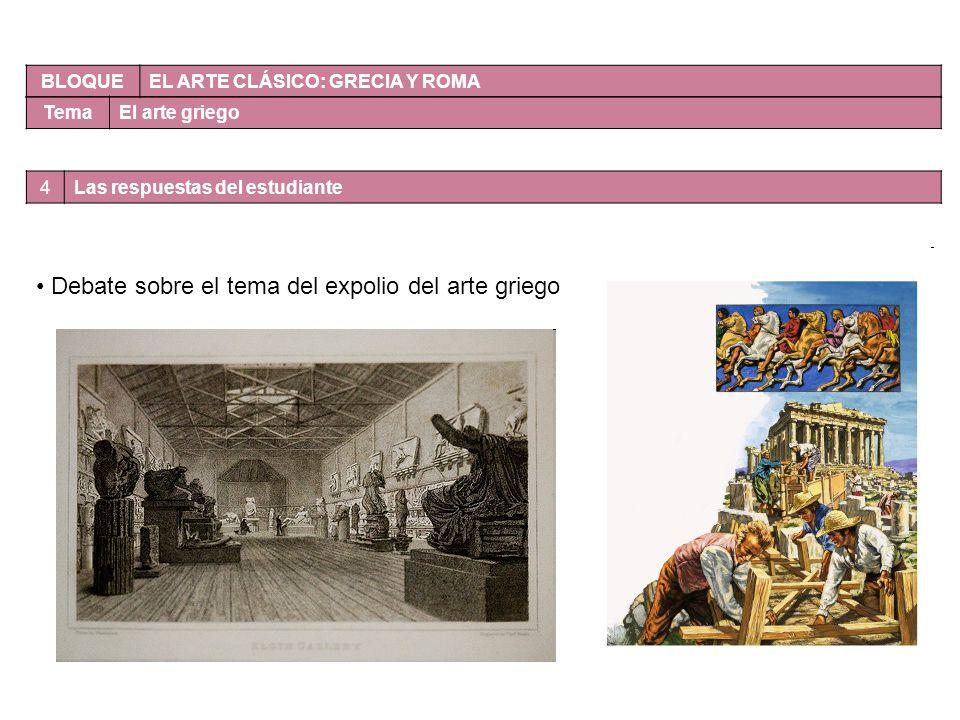 Debate sobre el tema del expolio del arte griego
