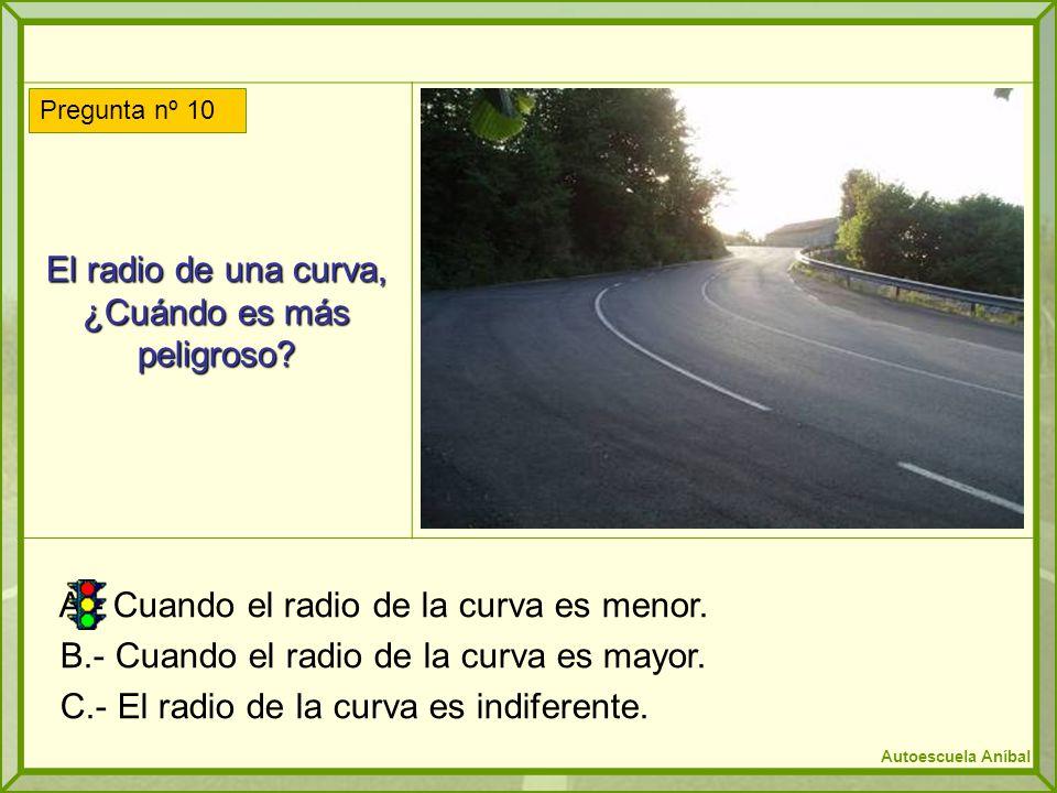 El radio de una curva, ¿Cuándo es más peligroso