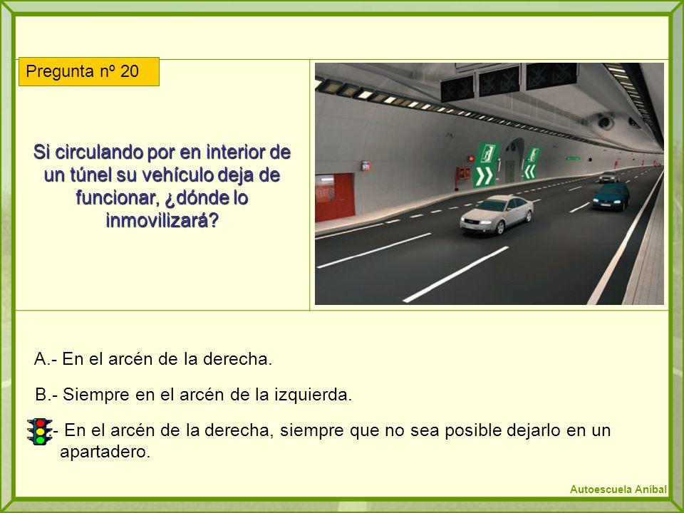 Si circulando por en interior de un túnel su vehículo deja de funcionar, ¿dónde lo inmovilizará