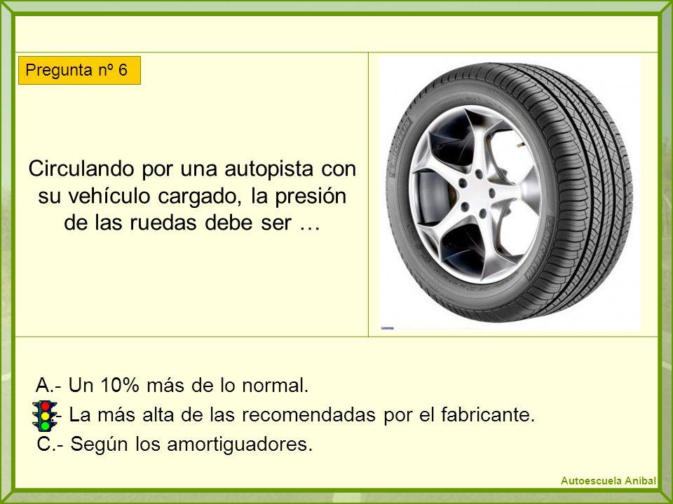 Circulando por una autopista con su vehículo cargado, la presión de las ruedas debe ser …