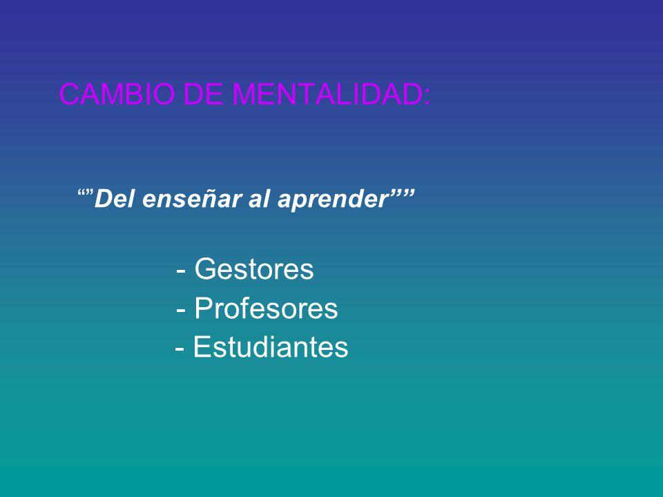 CAMBIO DE MENTALIDAD: Del enseñar al aprender - Gestores - Profesores - Estudiantes
