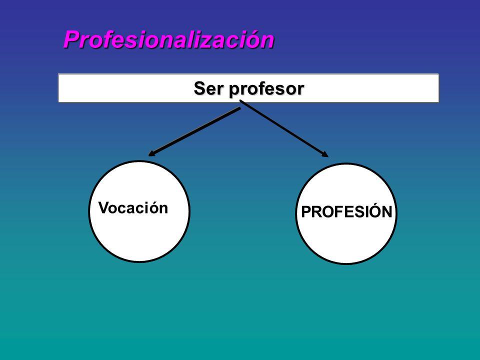 Profesionalización Ser profesor Vocación PROFESIÓN
