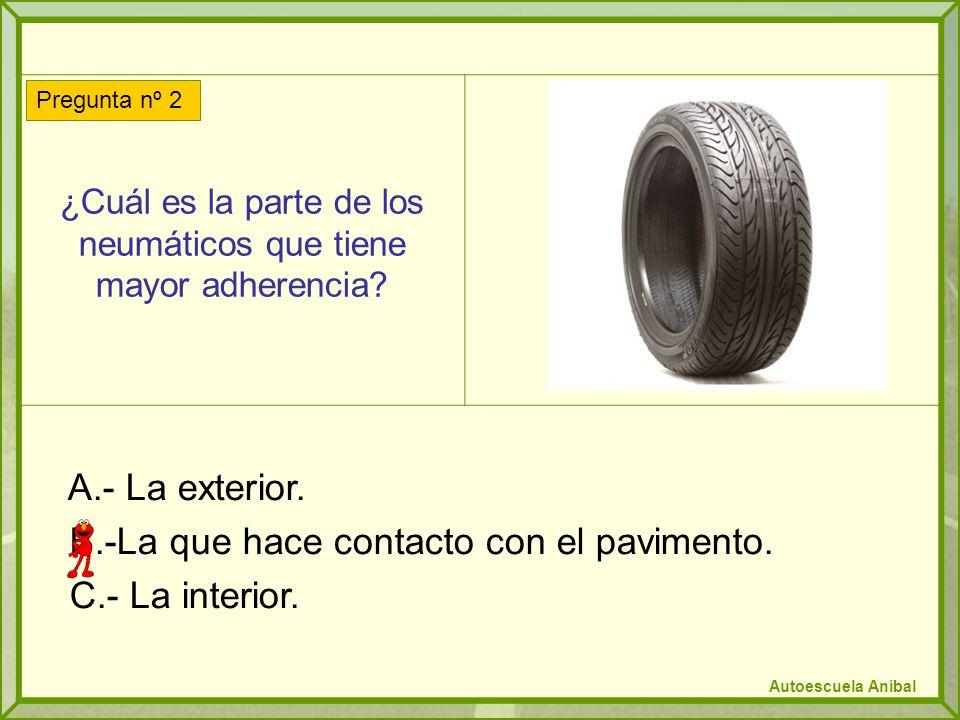 ¿Cuál es la parte de los neumáticos que tiene mayor adherencia