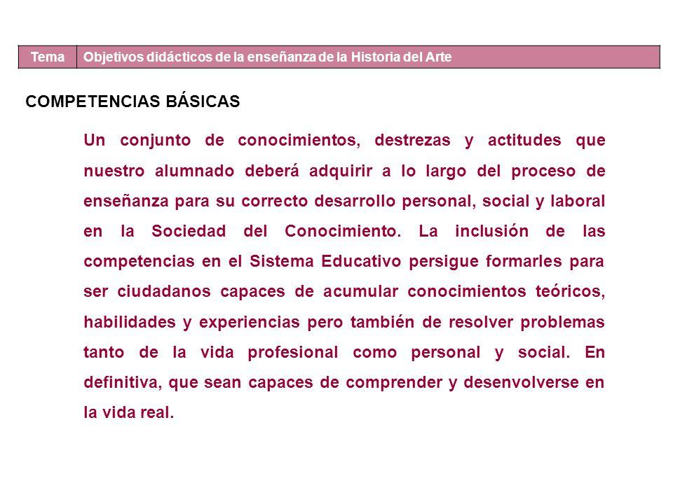 Tema Objetivos didácticos de la enseñanza de la Historia del Arte. COMPETENCIAS BÁSICAS.