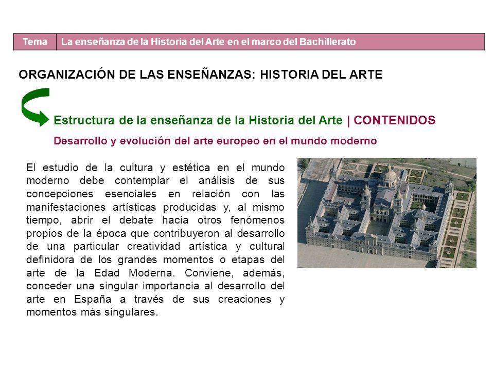 ORGANIZACIÓN DE LAS ENSEÑANZAS: HISTORIA DEL ARTE