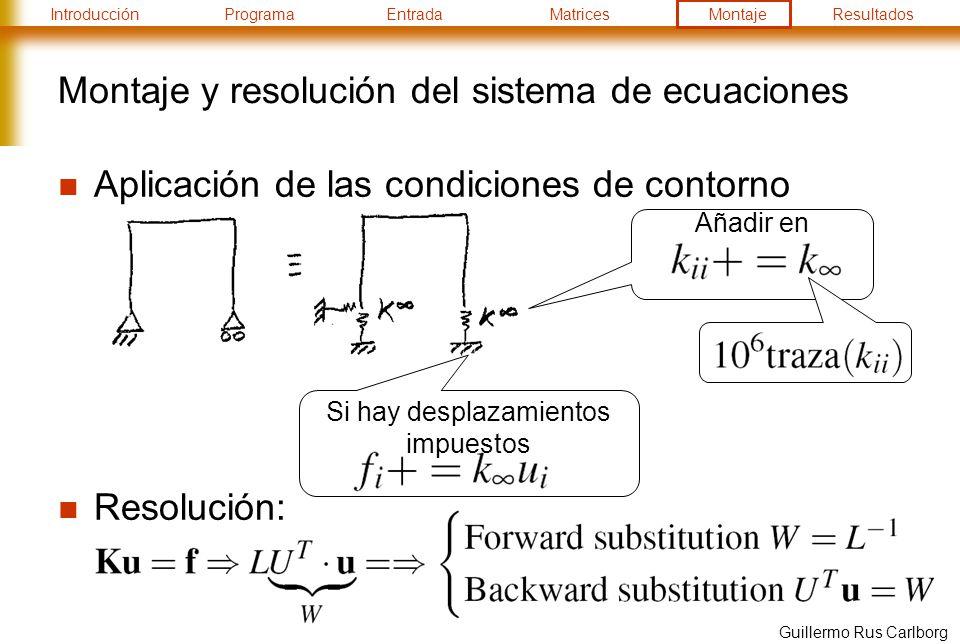 Montaje y resolución del sistema de ecuaciones