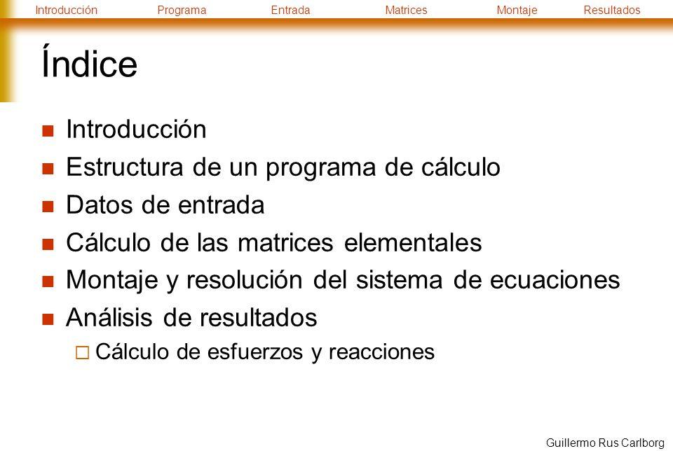 Índice Introducción Estructura de un programa de cálculo