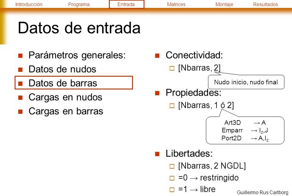 Datos de entrada Parámetros generales: Datos de nudos Datos de barras